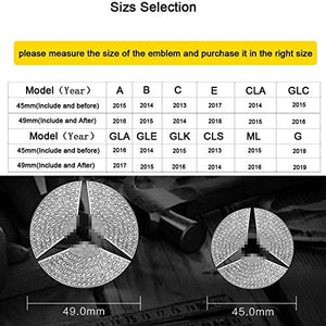 AEEIX Compatible Steering Wheel Logo Caps for Mercedes Benz Accessories Parts Emblem Badge Bling Decals Covers Interior Decorations W205 W212 W213 C117 C E S CLA GLA GLK Class (49mm)