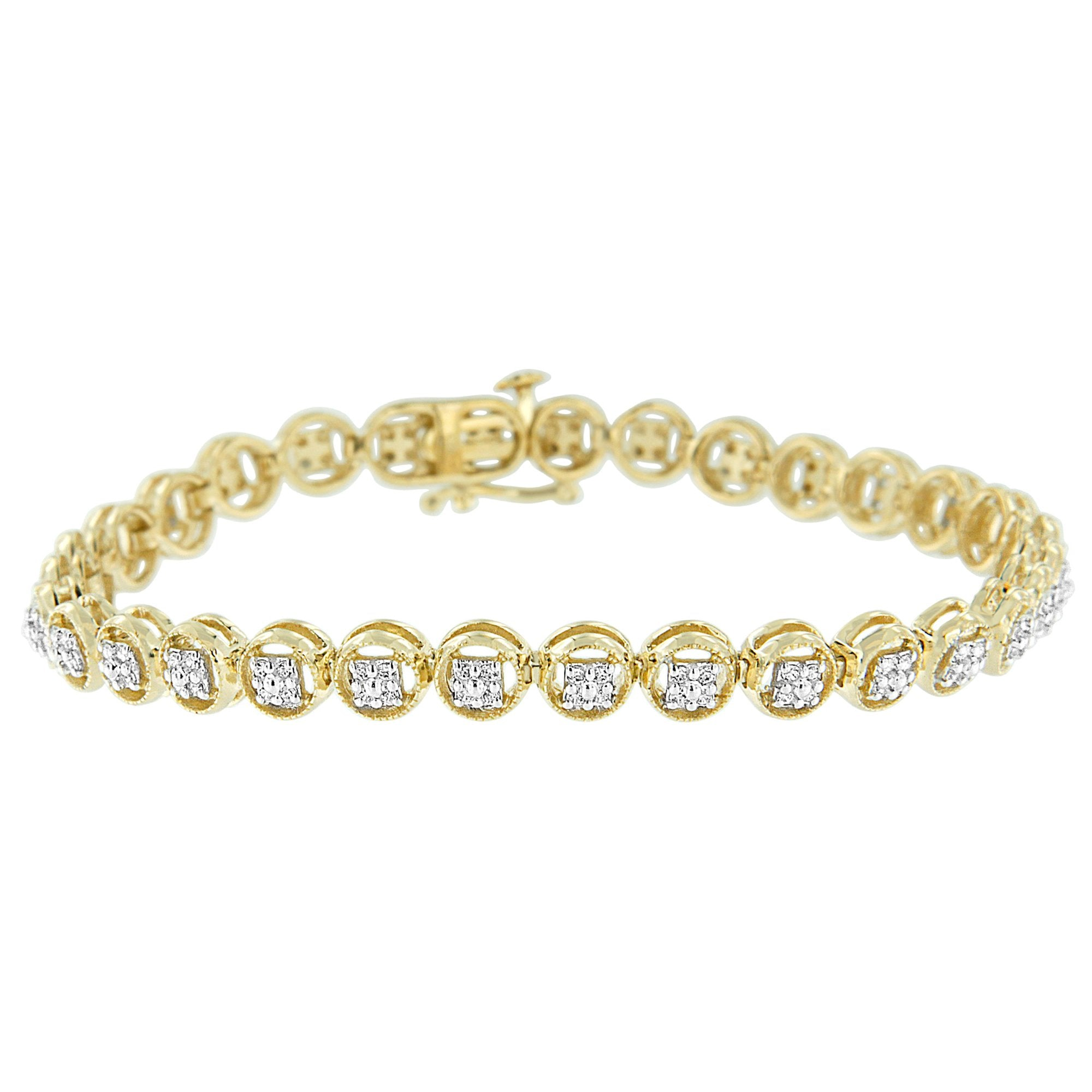 Yellow Gold Plated Sterling Silver 1/4ct TDW