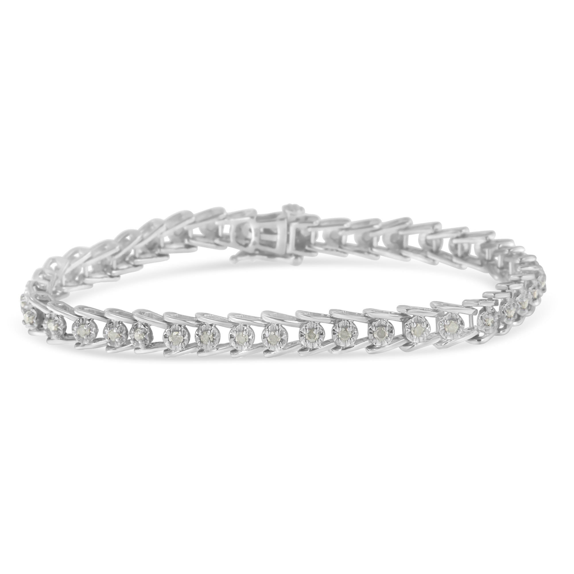 Sterling Silver 1ct TDW Rose-cut Diamond Wave link