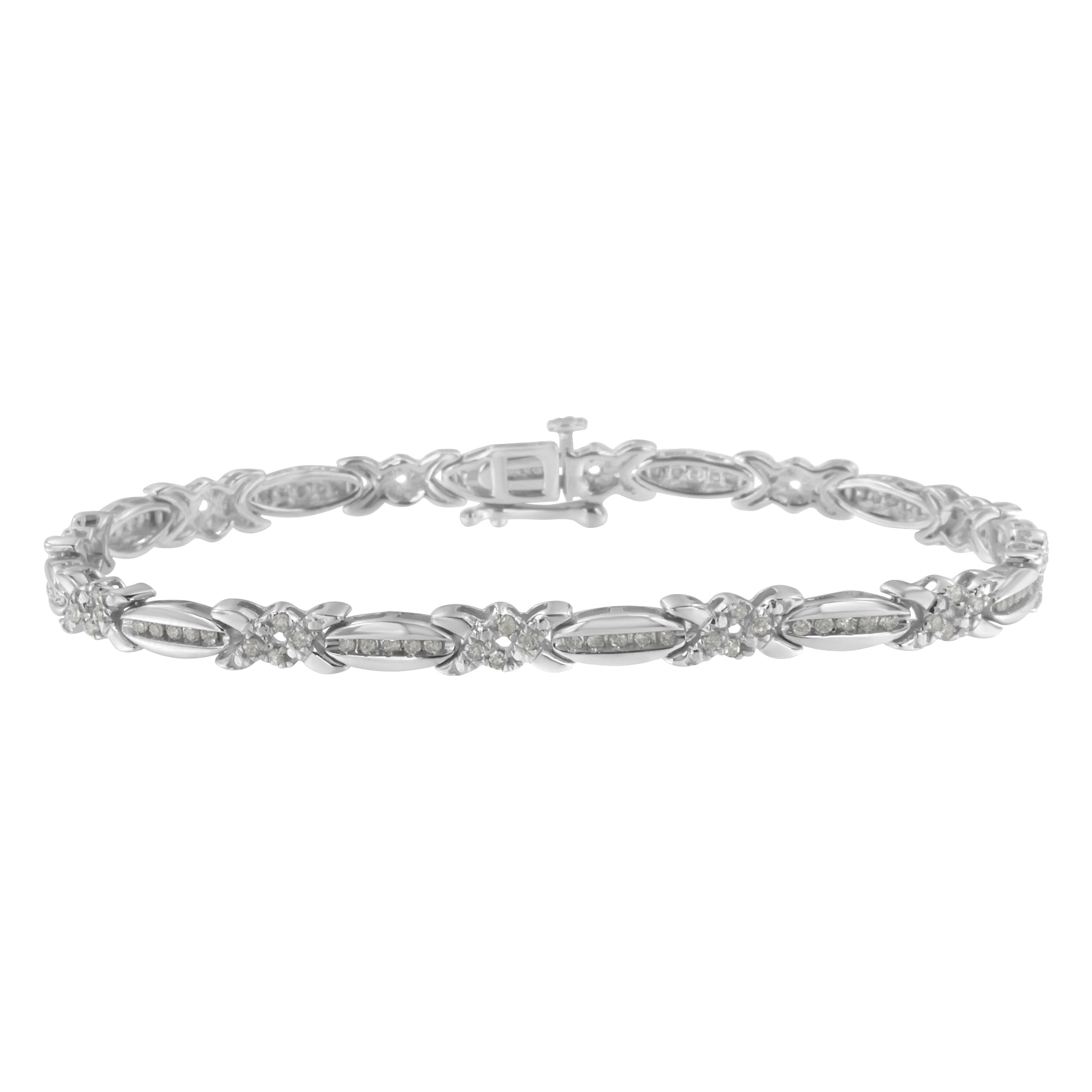 Sterling Silver 1ct TDW Diamond X-Link Tennis