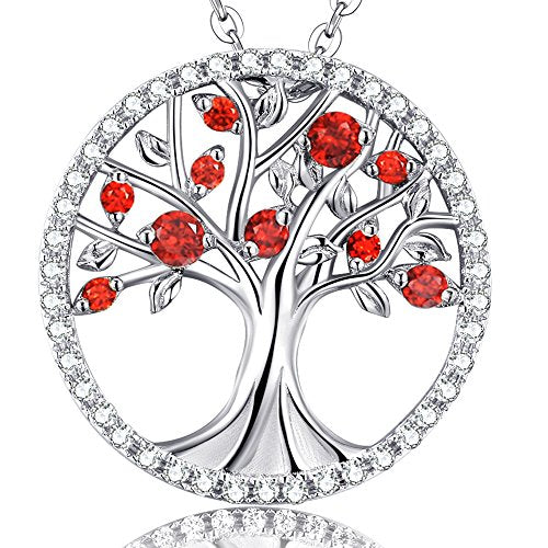 Tree of Life Jewelry Red Ruby Necklace for Mom Wife Birthday Gifts for Women Sterling Silver