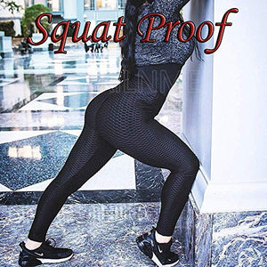 DREAMOON Anti-Cellulite Butt Lift Leggings High Waisted Scrunch Booty Yoga Pants Textured Ruched Tights for Women(#1-Black, XL)