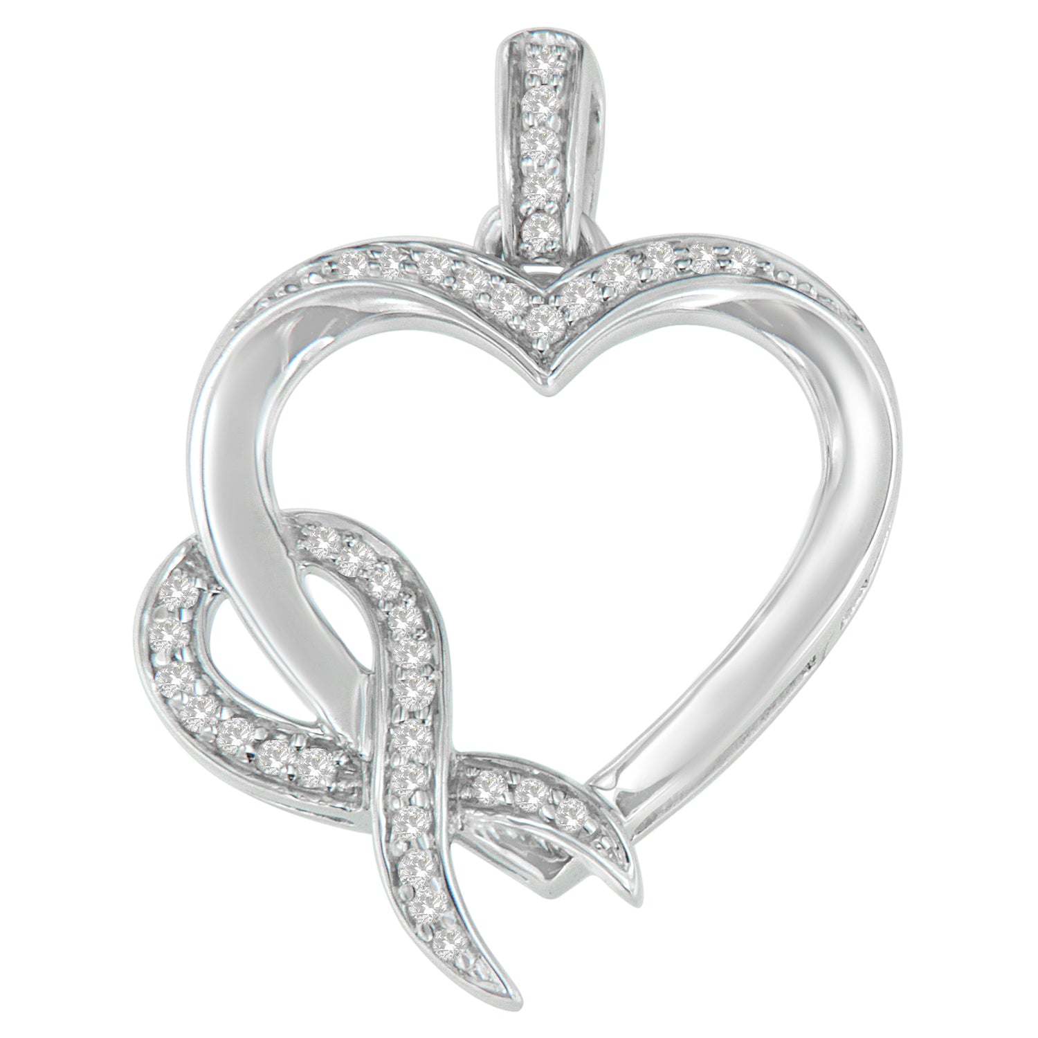 Sterling Silver 1/6ct TDW Diamond Heart Pendant