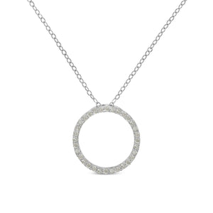 Sterling-Silver 1/3ct TDW Diamond Hoop Circle