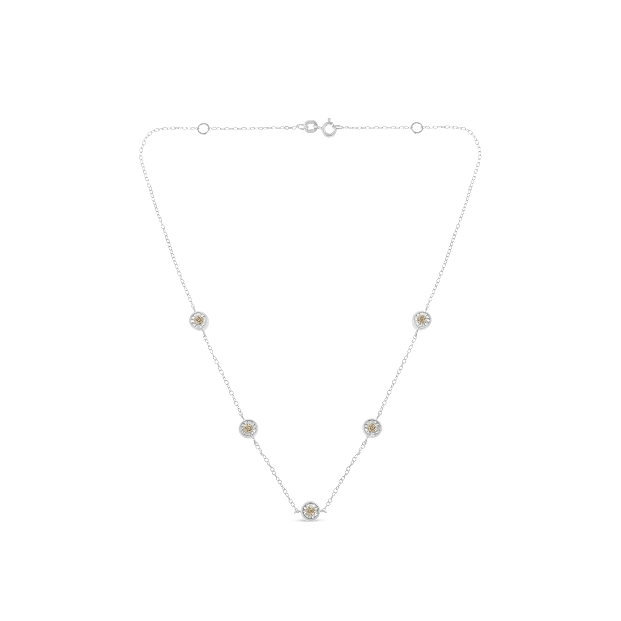 Sterling Silver 1/2ct TDW Diamond Station Necklace