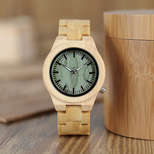 lovers' Wooden Watch Full Bamboo Green