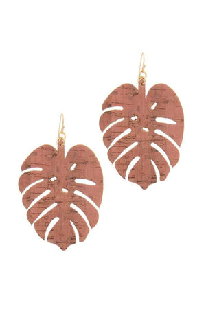 Tropical Leaf Drop Cork Gold Filled Earrings