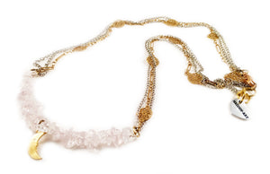 Rose Quartz and 18kt Gold Plated Choker Necklace