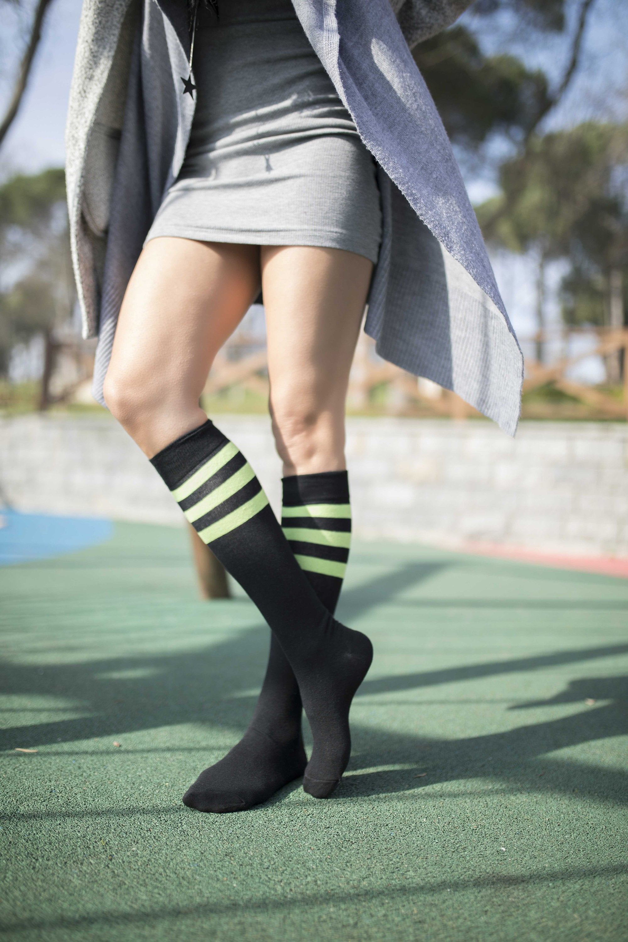 Women's Shiny Dark Stripe Knee High Socks Set