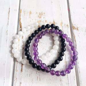 6mm Amethyst, Moonstone & Black Onyx Bracelets