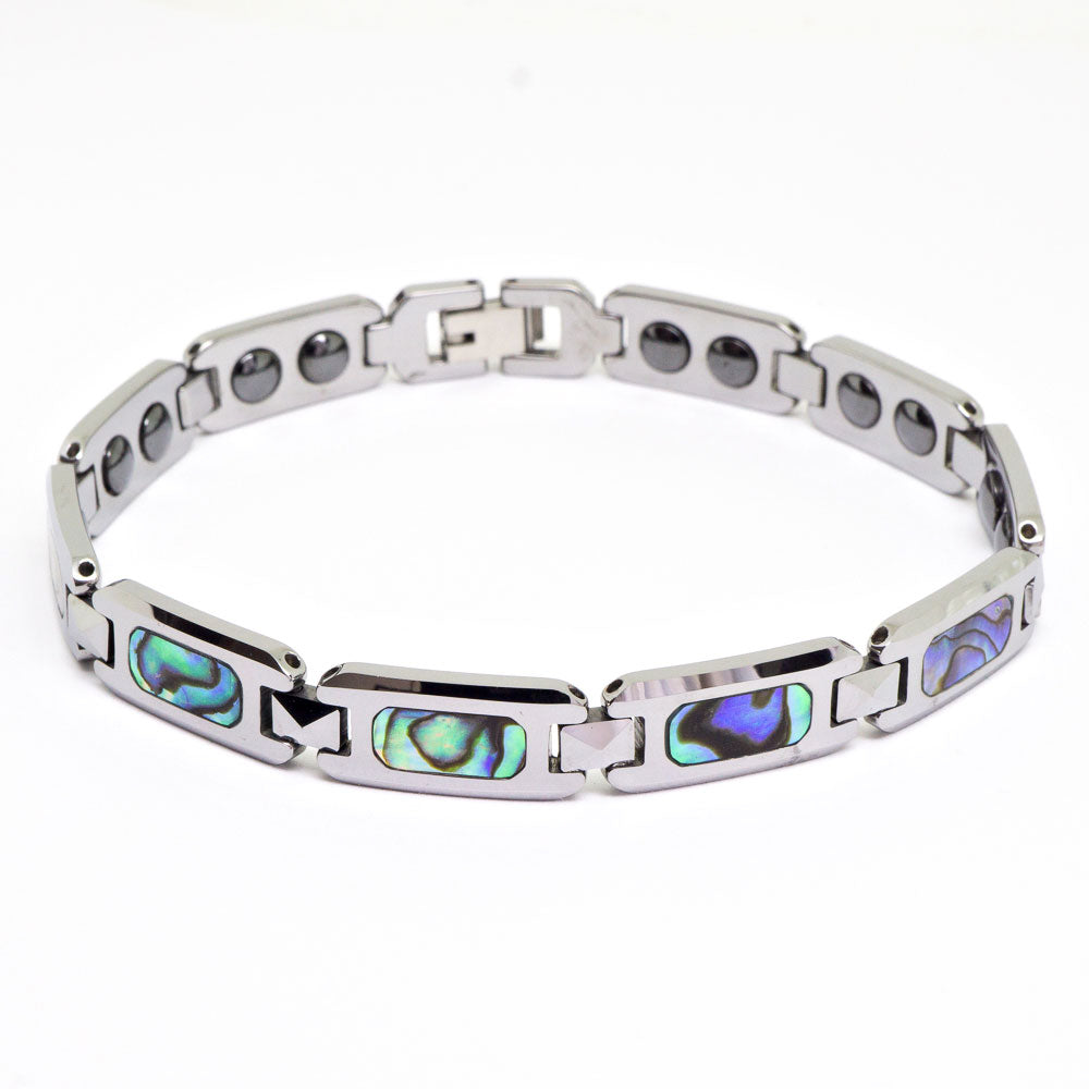 Tungsten Link Bracelet with Abalone