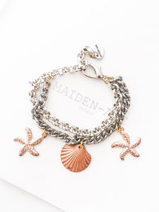 Statement Bracelet with Shell and Starfish Charms.