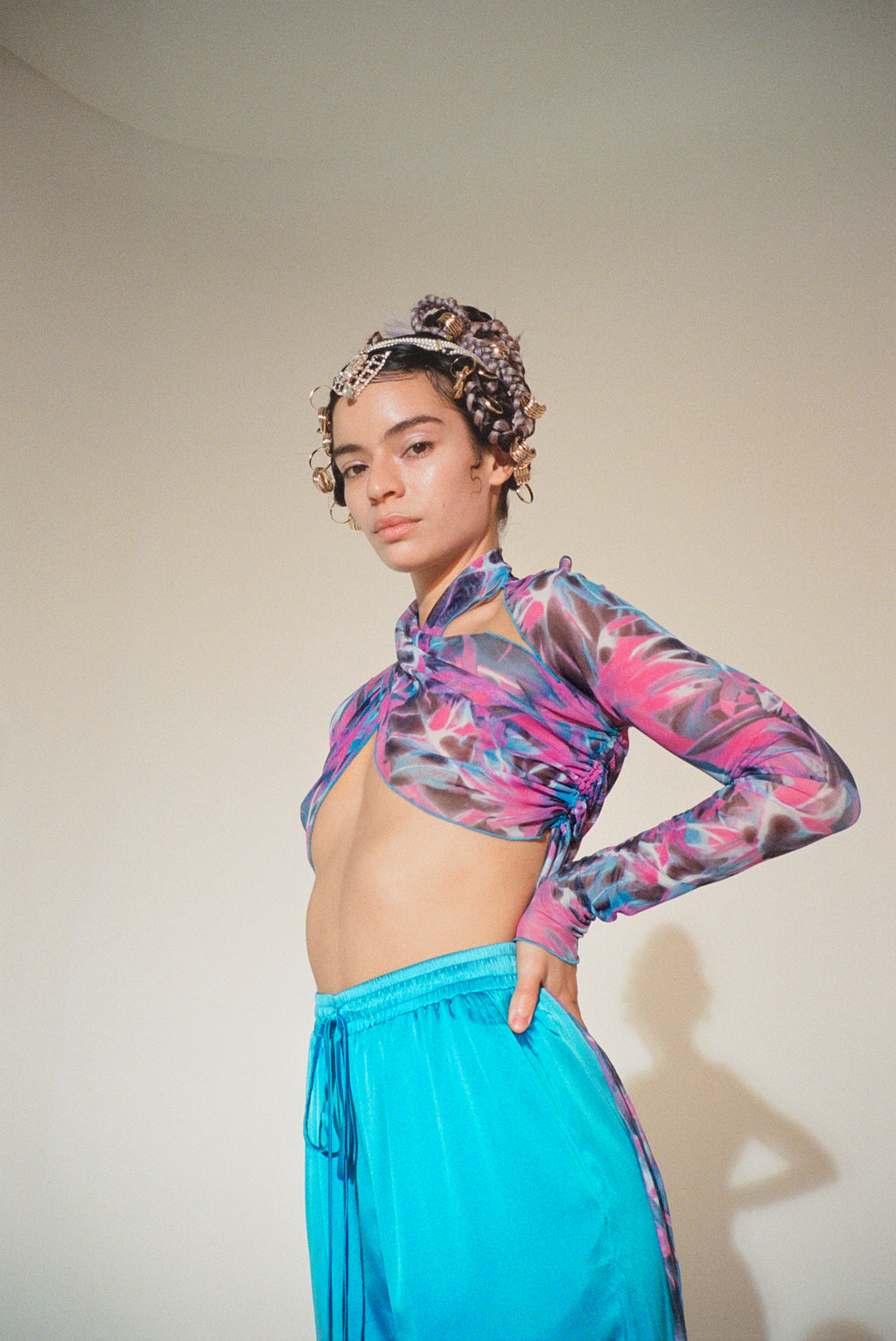 Pink Tropic Wrap Top -Pre Order for size M