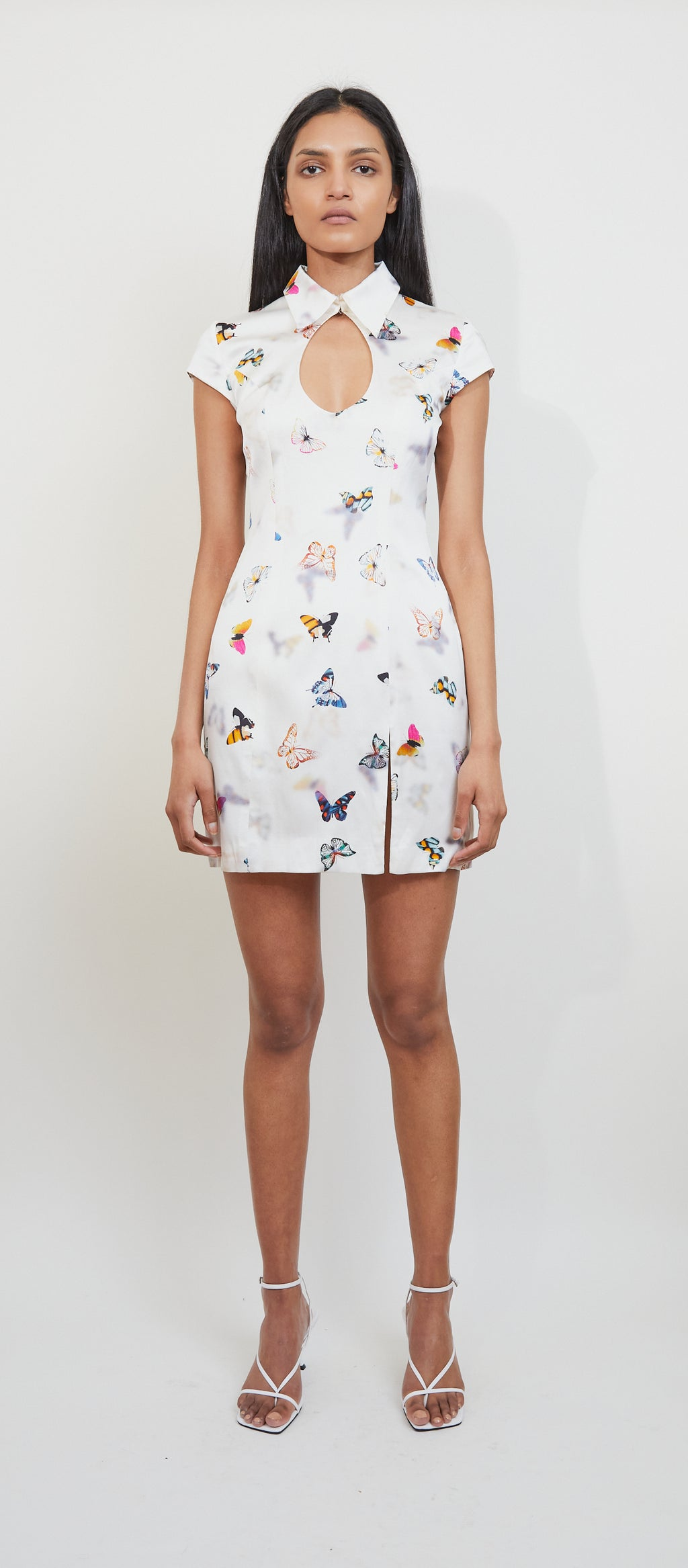 Butterfly Shirt Mini Dress-Closed neck