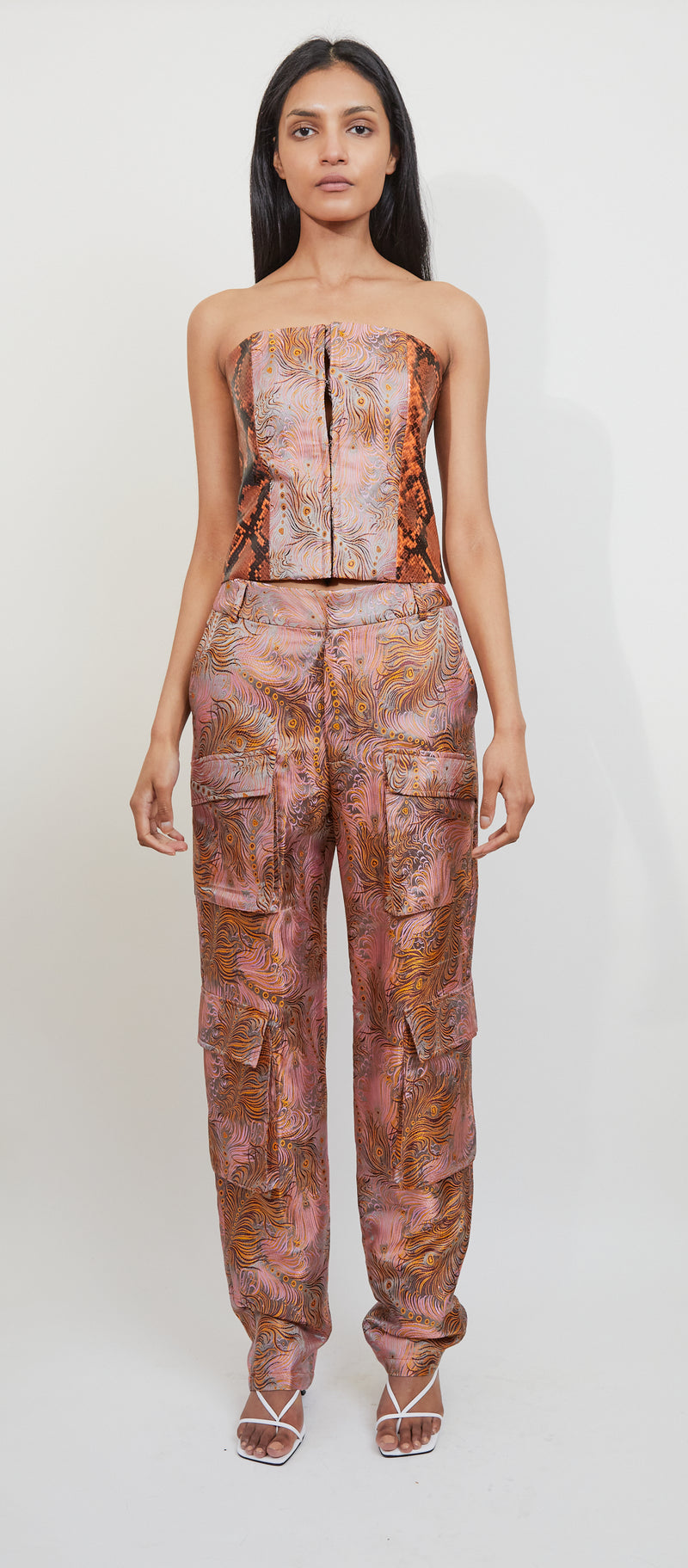 Mauve Brocade Cargo Pants