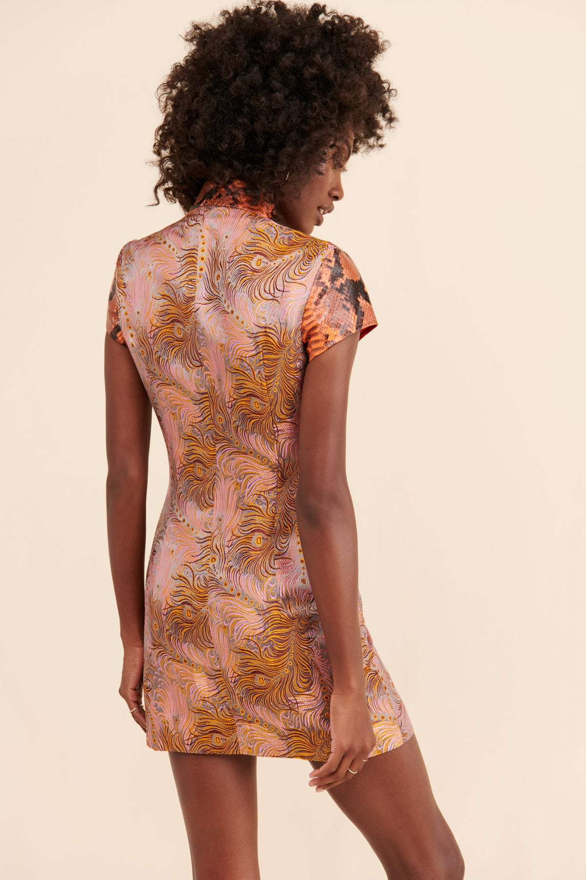 Brocade Combo Qi Pao Mini Dress