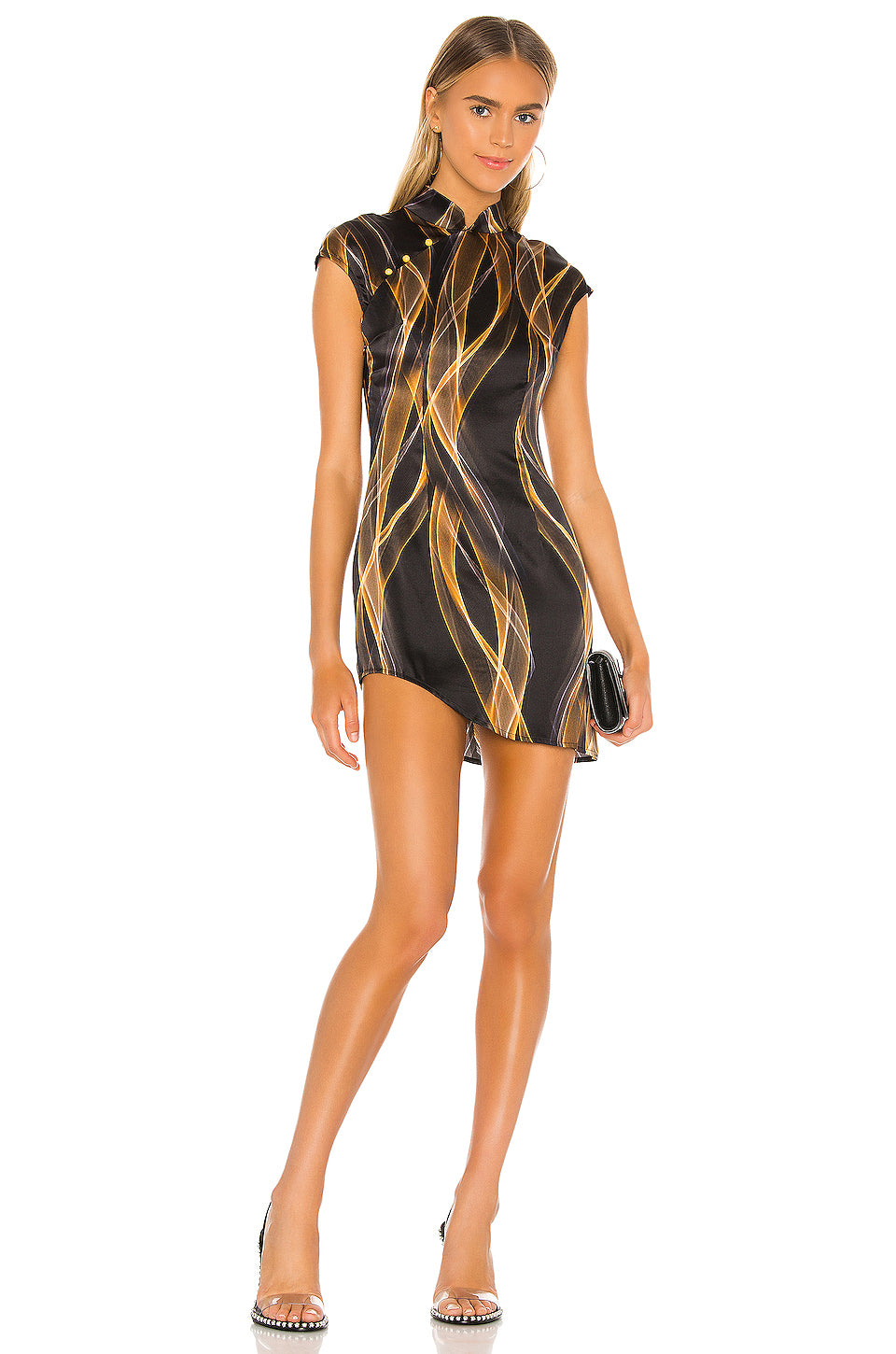 Qi Pao digital print minidress