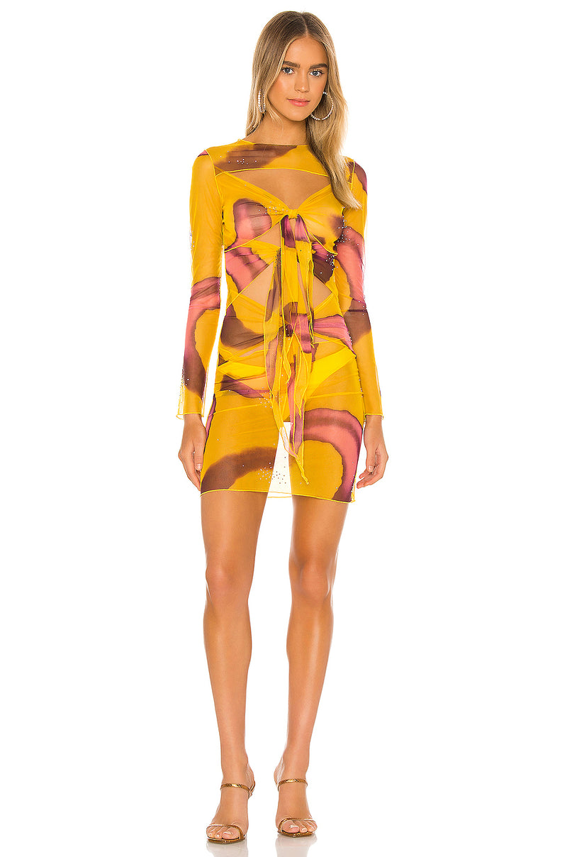 Swirl Print Mesh Tie Dress