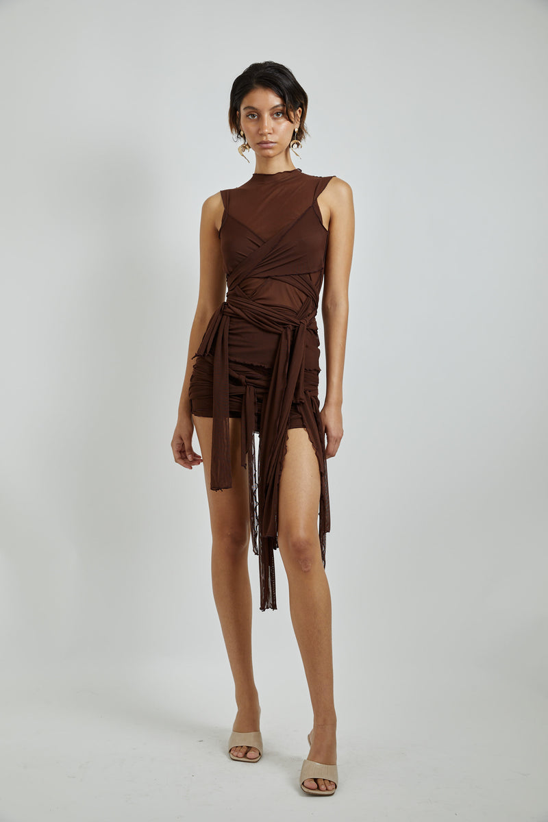 Brown Mesh Tie Skirt