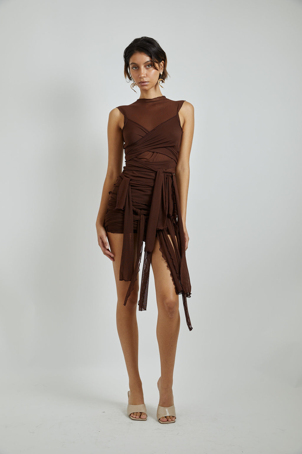 Brown Mesh Tie Top