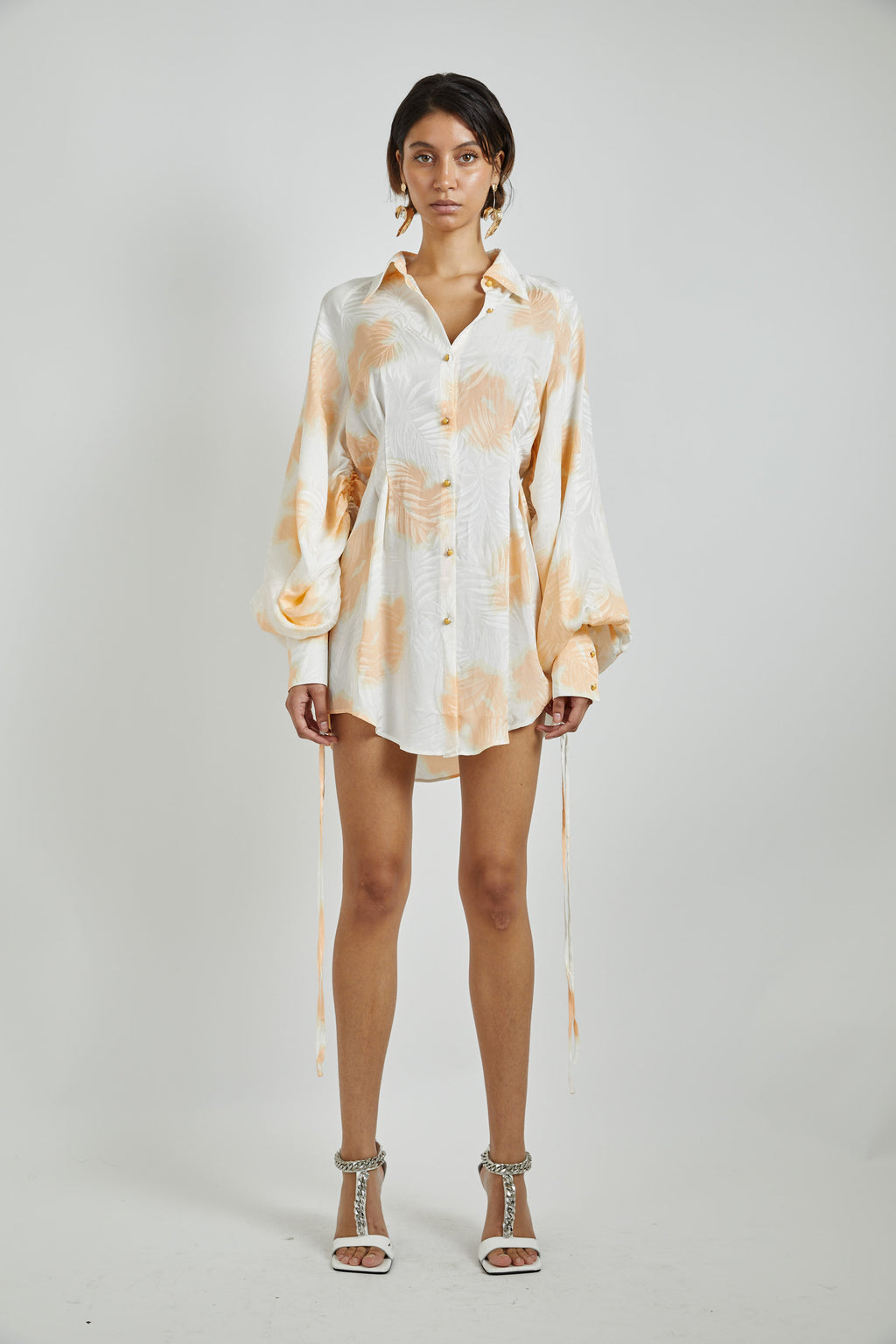 Silk Print Shirt Dress