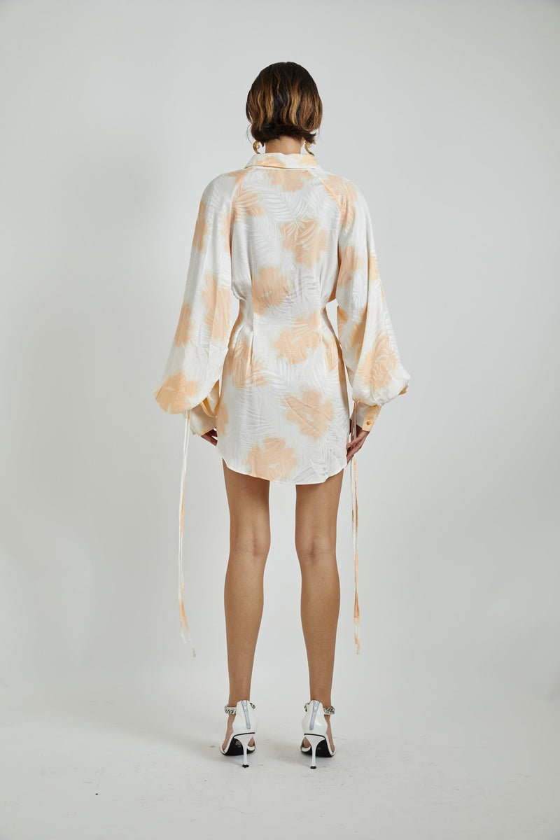 Silk Print Shirt Dress-Preorder for delivery Oct 30
