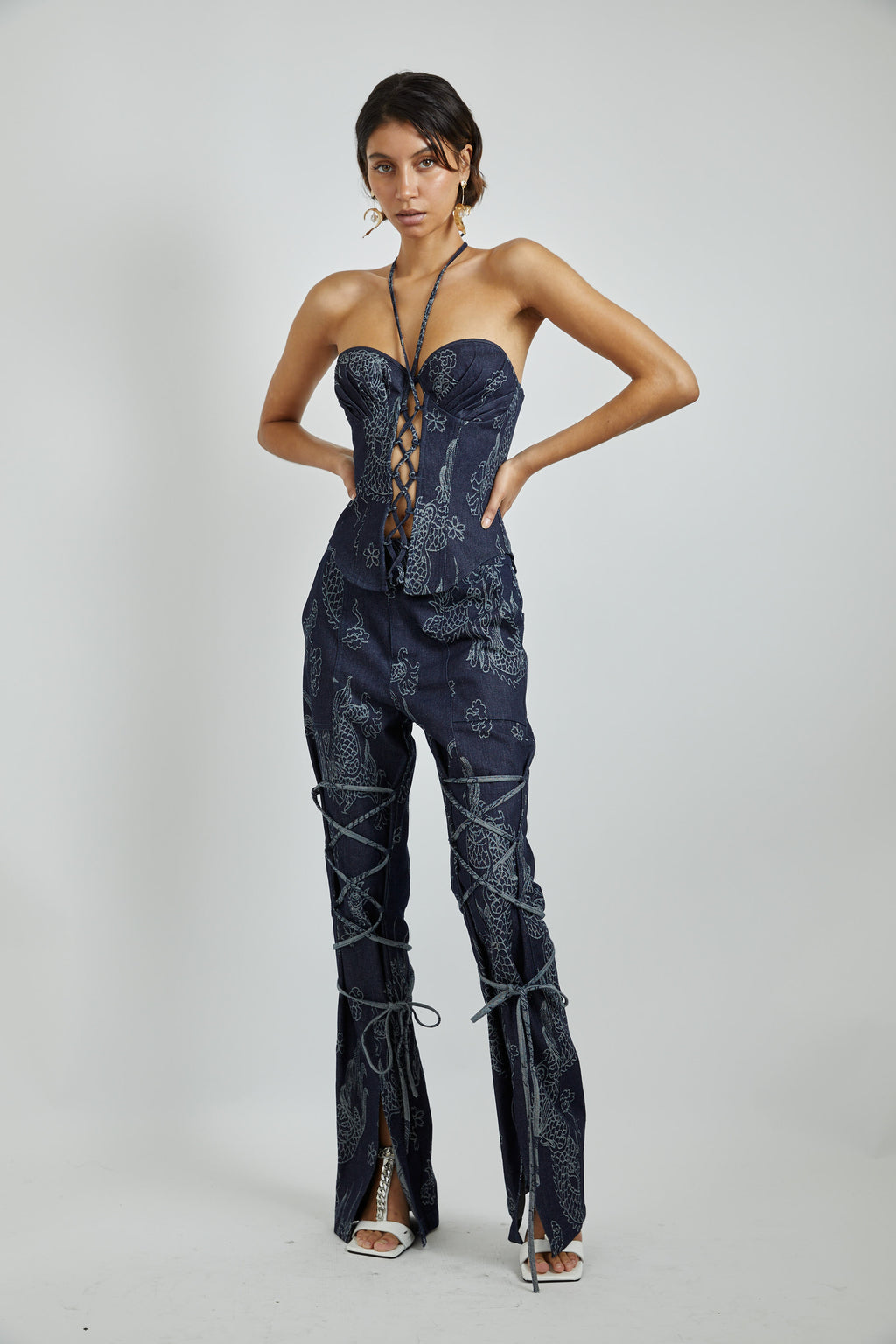 Denim Dragon Lace up Bustier-PREORDER -DELIVERY ON Nov 28