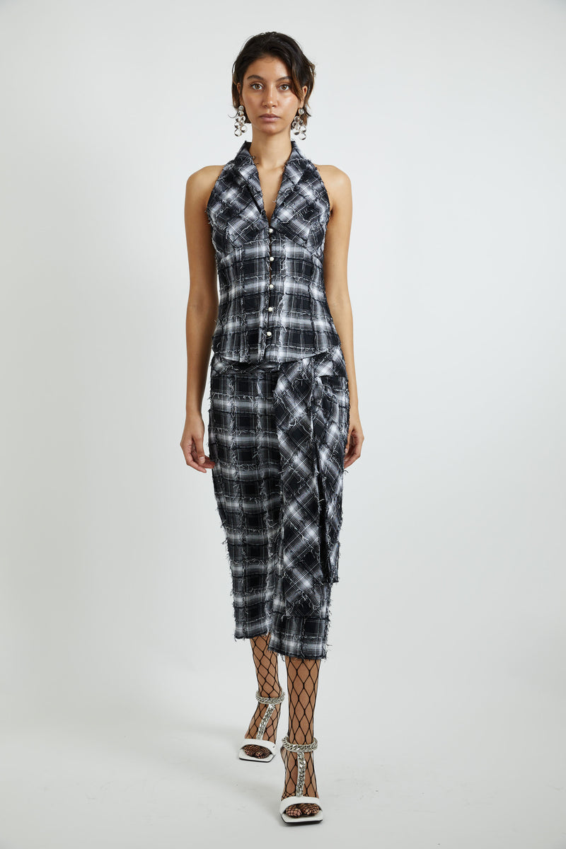 Textured Plaid sleeveless bustier
