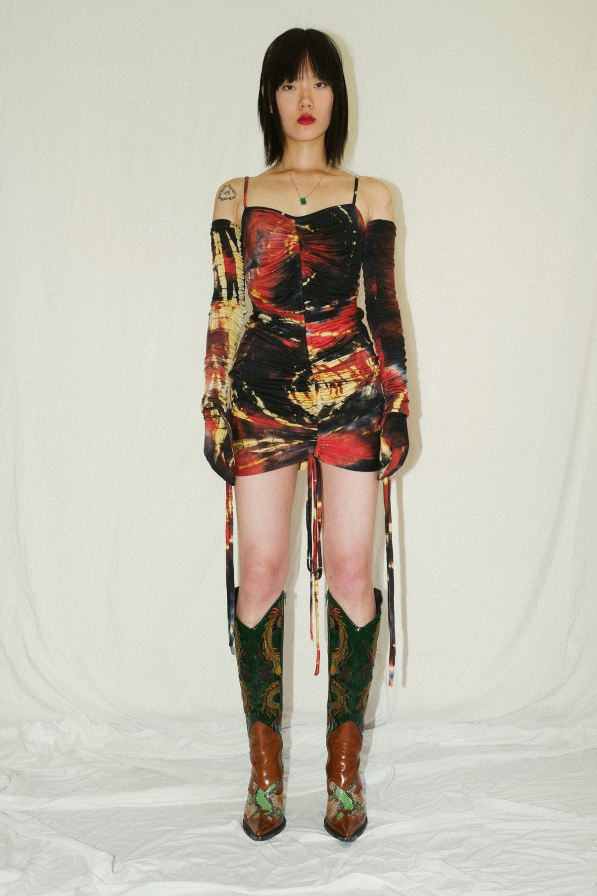 Multi Dye Shirred Dress