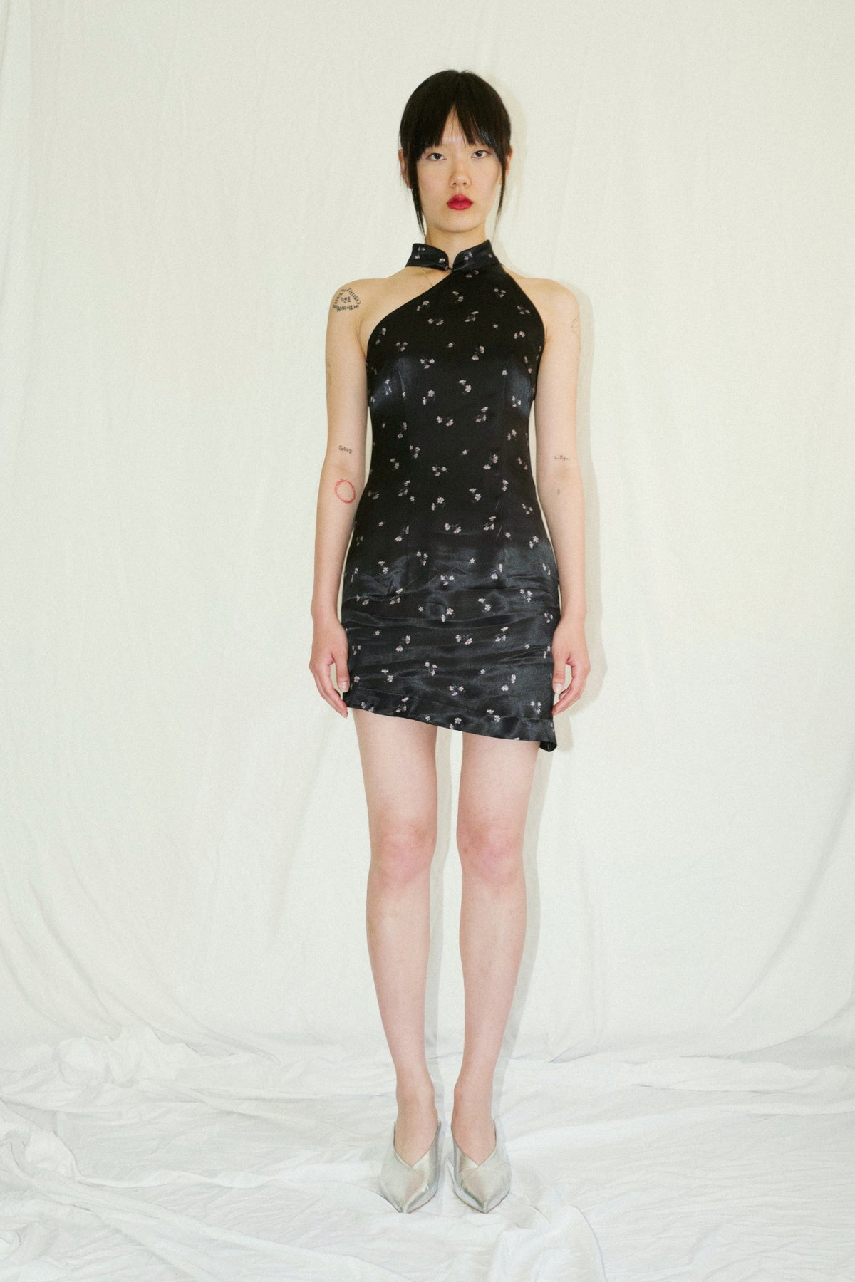 Floral Black Silk Qi Pao Mini Dress