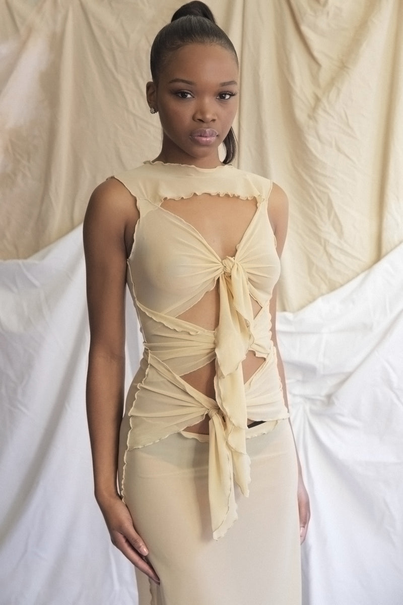 Multi Tie Dress in Nude Mesh