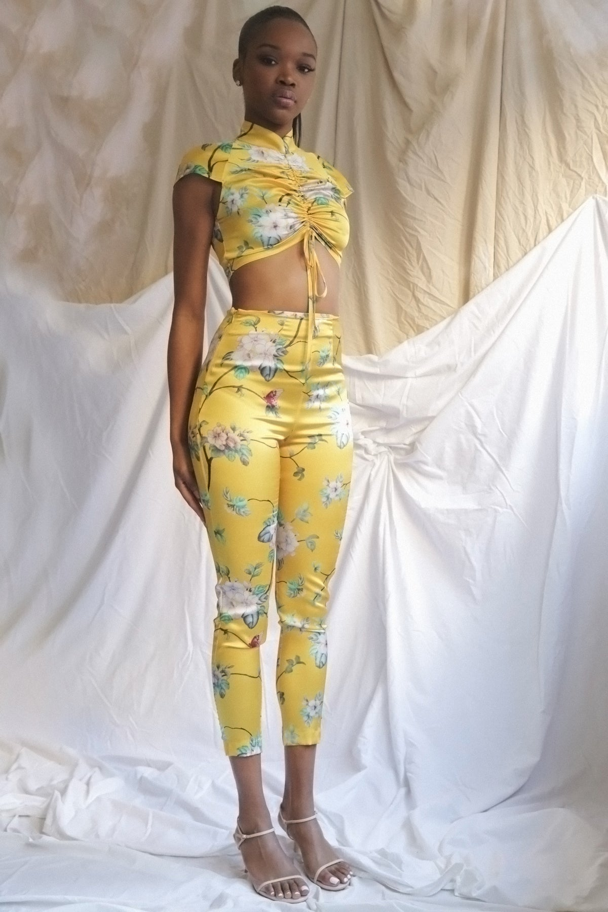 Yellow stretch silk pants