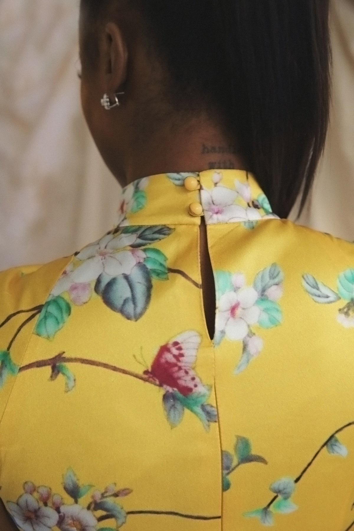 Floral Yellow Silk Ruched Top