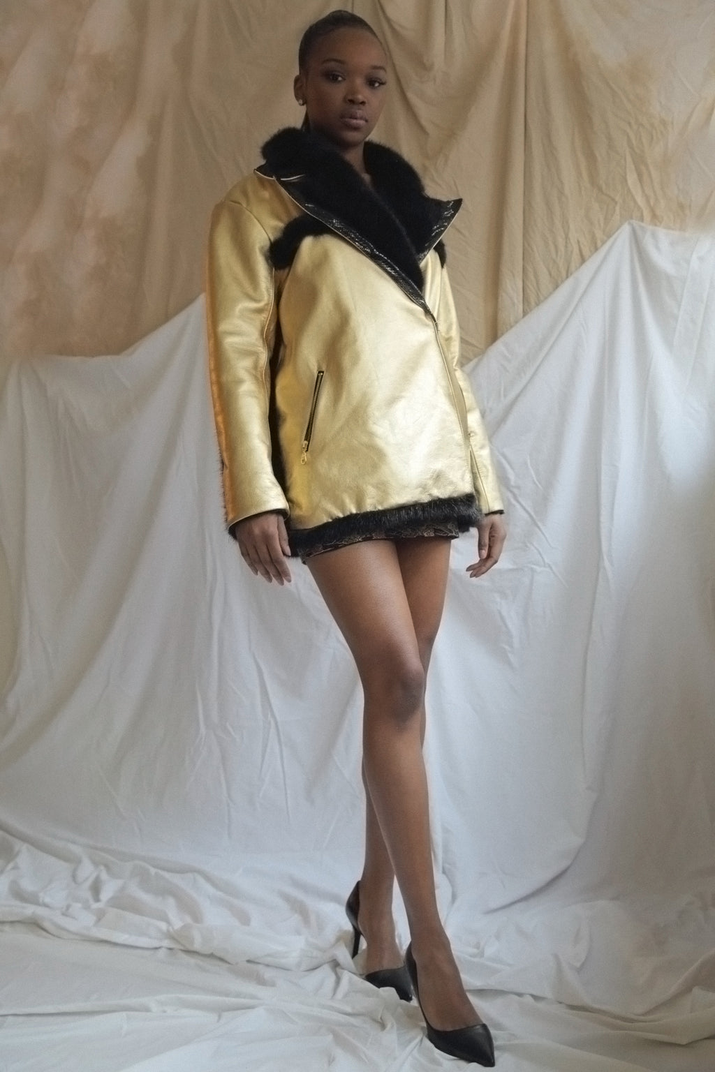 Golden Leather Coat