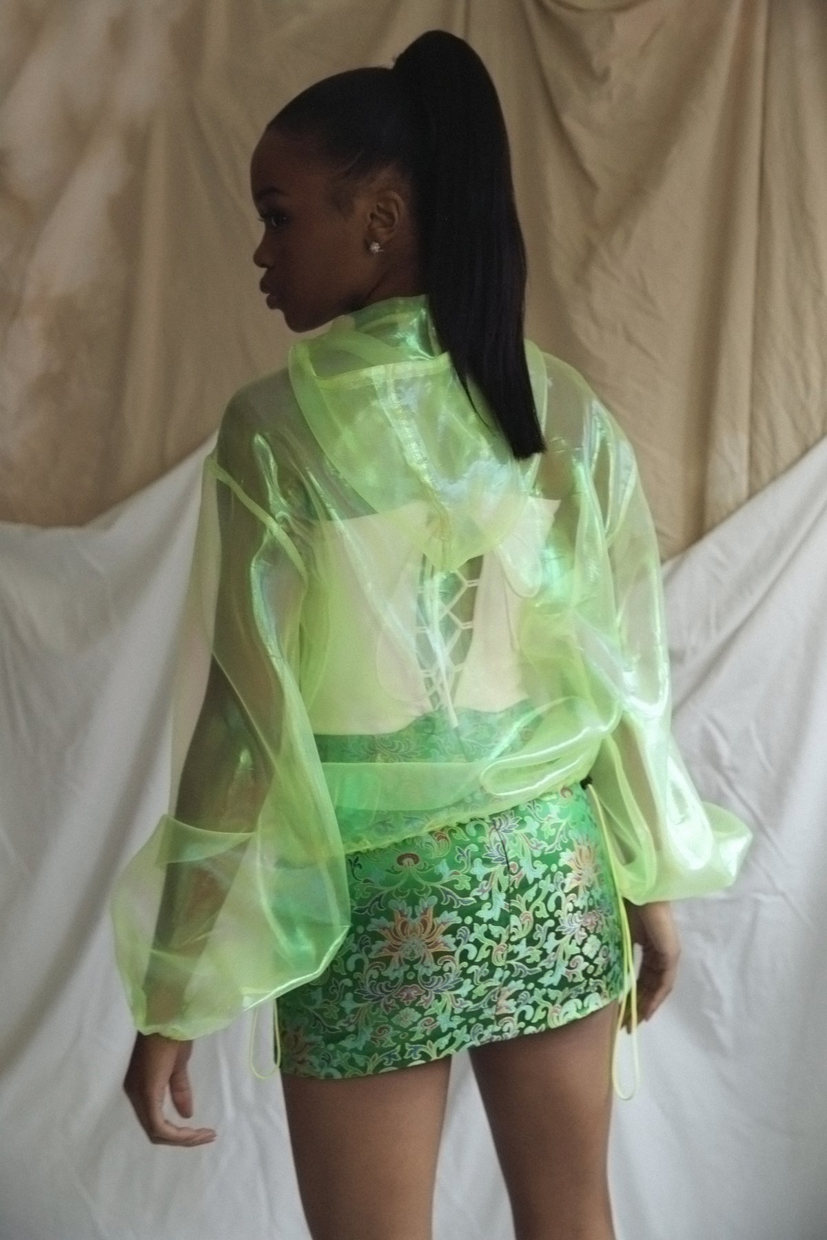 Sheer Green Organza Jumper