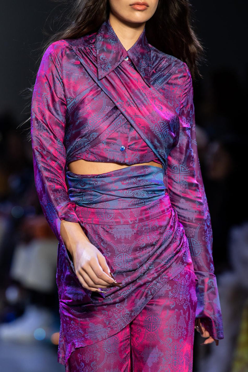 Purple Silk Wrap Shirt