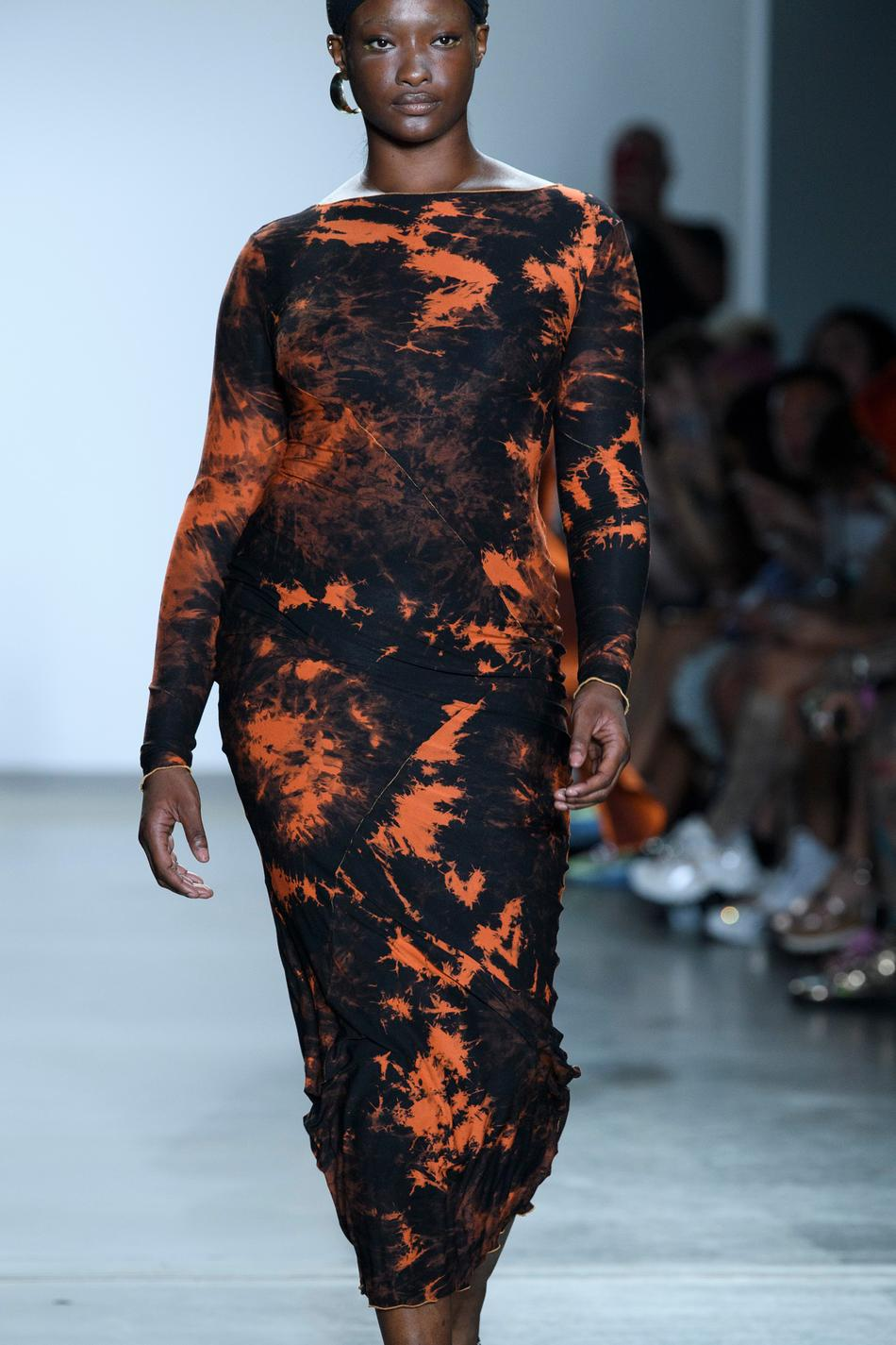 Orange Tie Dye Full Length Dress