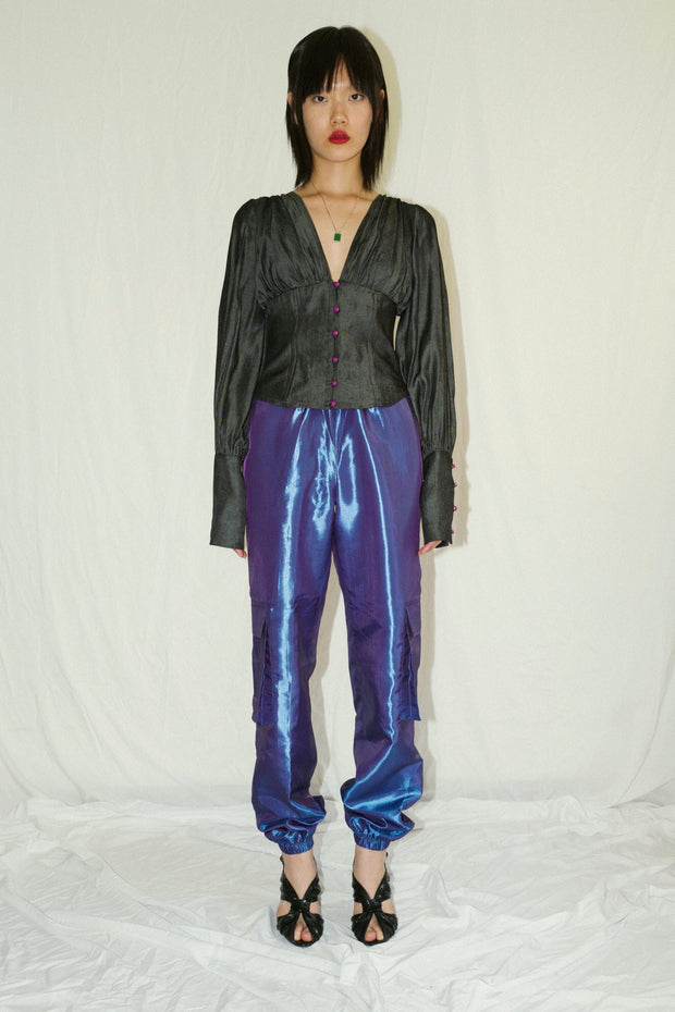 Sea Blue Taffeta Pants