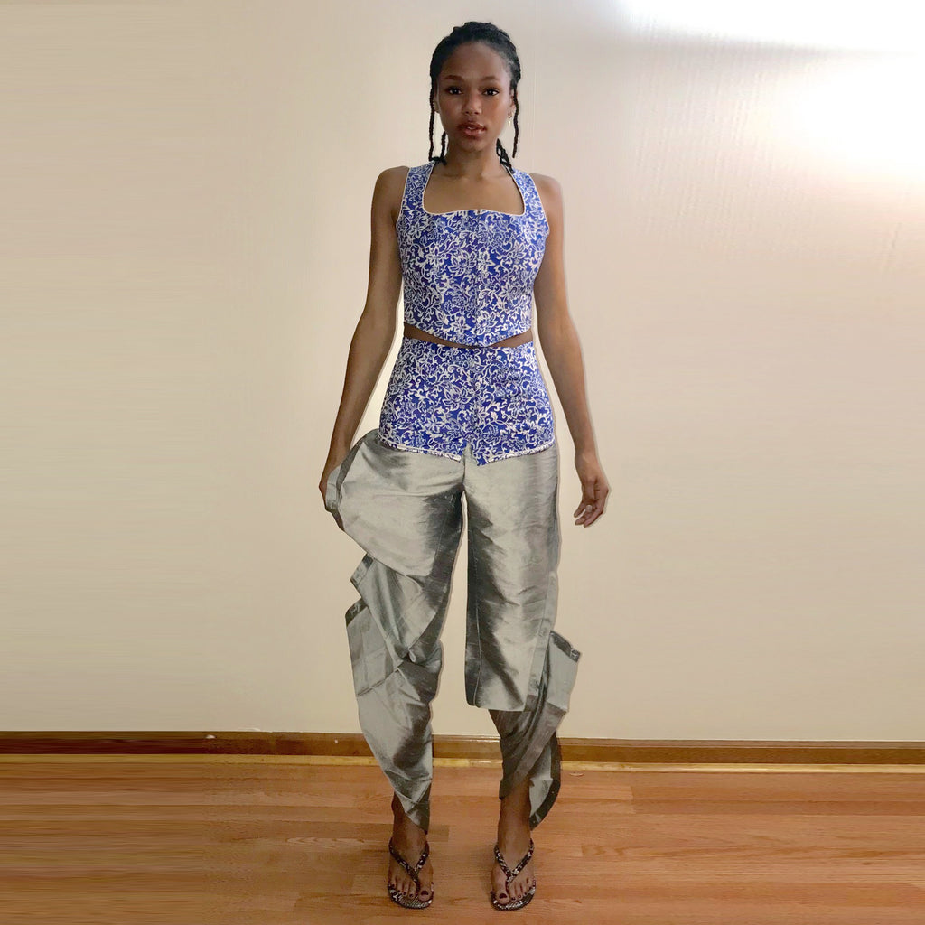 Silk Taffeta Sculptural Pants