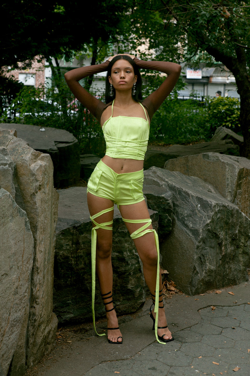 Lime Lace Up Bustier-preorder and delivery on Oct 31