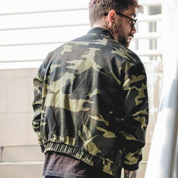 """JD"" Camouflage Bomber Jacket - DISXENT STREETWEAR"