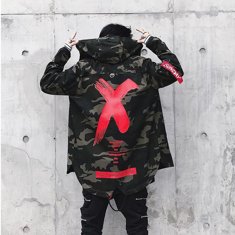 """X"" Camo Trench Coat - DISXENT"