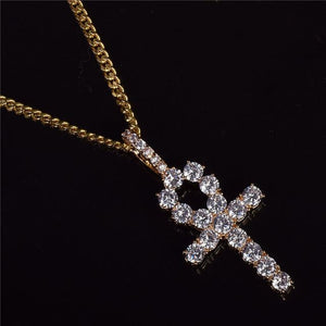 Iced Zircon Ankh Cross Necklace - DISXENT