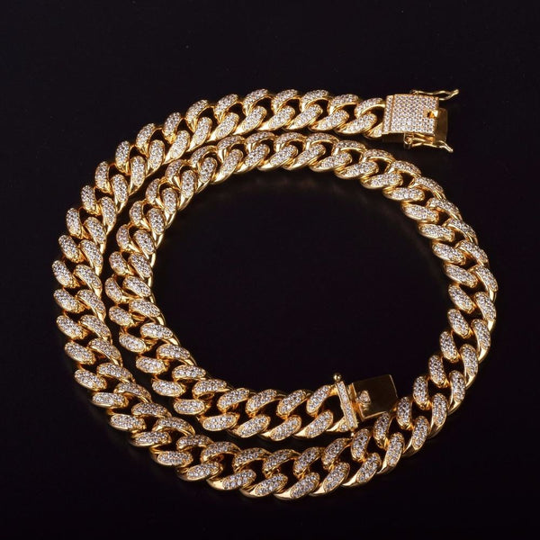12 MM Iced Out Zircon Cuban Necklace - DISXENT