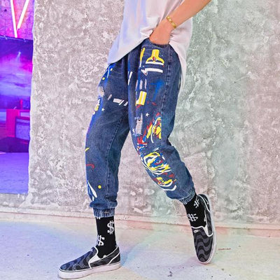 """Graffiti"" Denim Pants - DISXENT STREETWEAR"
