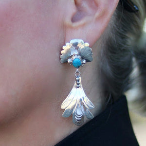 Native American Kingman Turquoise Sterling Silver Earrings