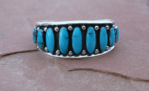 Native American 9 Stone Kingman Turquoise Sterling Silver Cuff