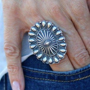 Native American Repoussé Sterling Silver Ring