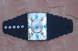 Native American Sleeping Beauty Turquoise Sterling Silver Ketoh Bow Guard