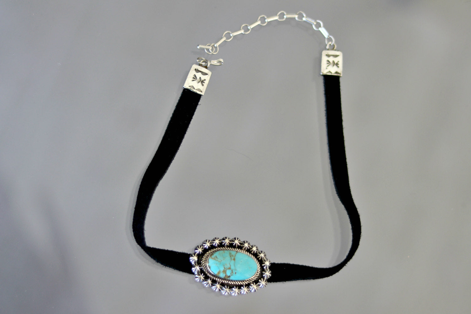 Native American Kingman Turquoise Sterling Silver Choker Necklace
